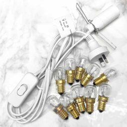 Crystal Lamp Power Cord – White + 10 Bulbs (15W) (220V-240V) | Himalayan Salt Factory