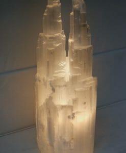 Selenite Twin Tower Lamp 40cm | Himalayan Salt Factory
