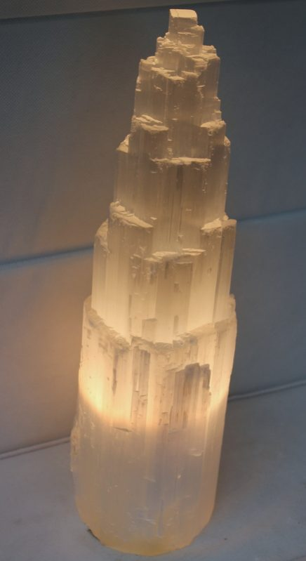 Selenite Tower Lamp 40cm Himalayan Salt Factory
