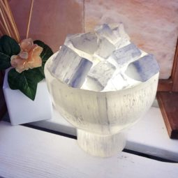 Selenite Fire Bowl Lamp opt1   Himalayan Salt Factory