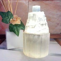 Selenite Tower Lamp 15cm | Himalayan Salt Factory