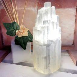 Selenite Tower Lamp 20cm   Himalayan Salt Factory