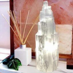 Selenite Tower Lamp 30cm   Himalayan Salt Factory