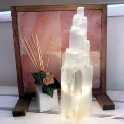 Selenite Tower Lamp 40cm | Himalayan Salt Factory