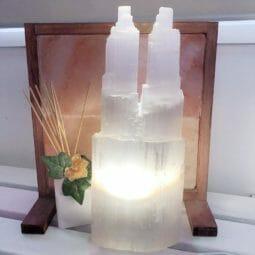 Twin Tower Selenite Lamp 40cm   Himalayan Salt Factory