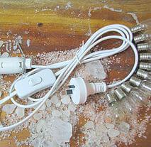 White Lamp Cord + 10 Bulbs
