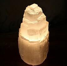 Selenite Tower Lamp 23cm | Himalayan Salt Factory