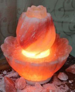 Crafted Himalayan Lotus Salt Lamp Large   Himalayan Salt Factory