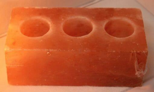 Himalayan Salt Brick Shaped 3 Hole Tealight Candle Holder | Himalayan Salt Factory