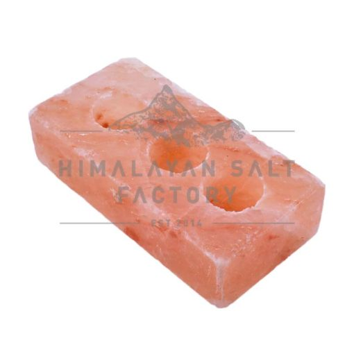 Brick Shaped 3 Hole Tealight Candle Holder | Himalayan Salt Factory