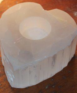 Heart Selenite Tealight Candle Holder | Himalayan Salt Factory
