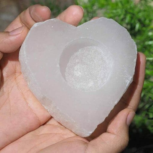 Heart Selenite Tealight Candle Holder | Himalayan Salt Factory