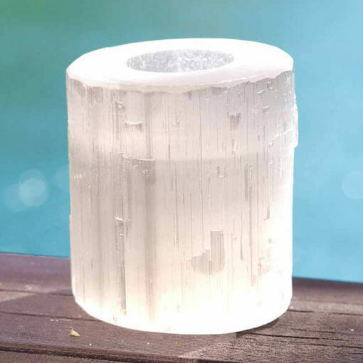 Natural Shaped Selenite Tealight Candle Holder | Himalayan Salt Factory