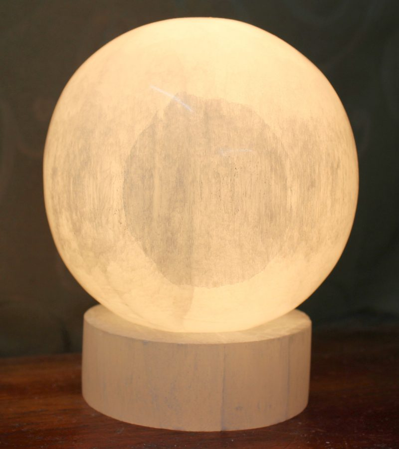 Crafted Selenite Sphere Lamp | Himalayan Salt Factory