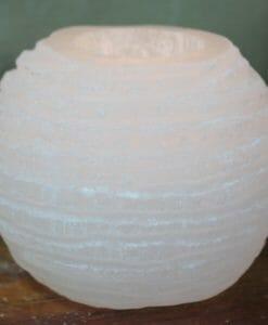 Selenite Chinese Lantern Tealight Candle Holder | Himalayan Salt Factory