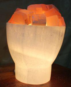 Selenite Firebowl Lamp with Orange Chunks | Himalayan Salt Factory