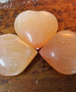 Selenite Orange Heart Palm Stones x 3 | Himalayan Salt Factory