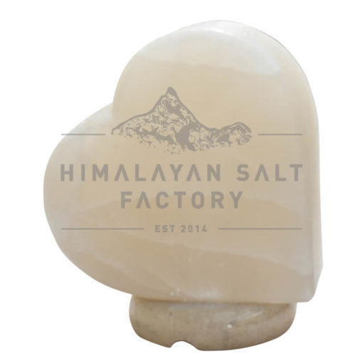 Crafted White Sideways Heart Salt Lamp   Himalayan Salt Factory