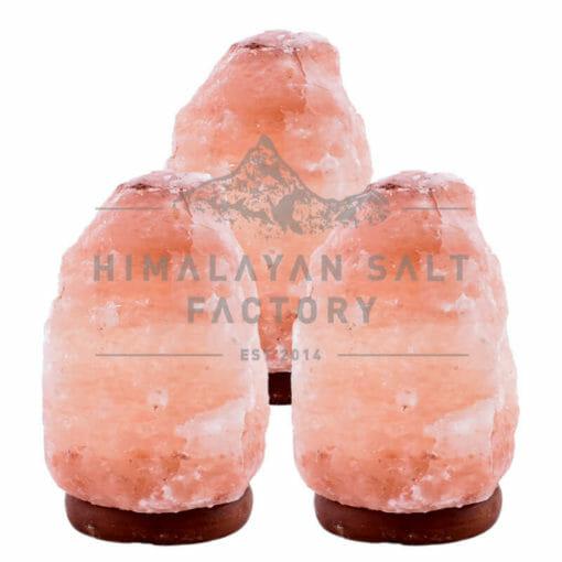 3 X 2-3kg Himalayan Salt Lamp Pack (Timber Base) | Himalayan Salt Factory