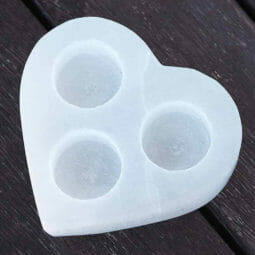 Heart Selenite 3 Tealight Candle Holder | Himalayan Salt Factory