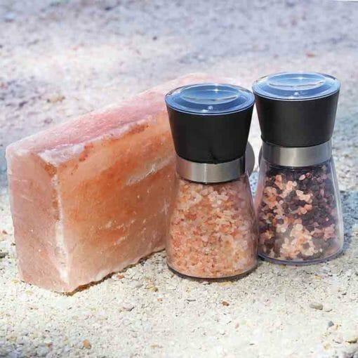 Himalayan Salt Cooking Block (Small) + 2 Glass Ceramic Grinders | Himalayan Salt Factory