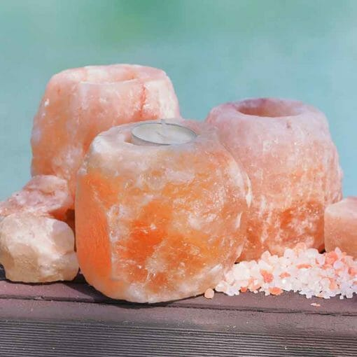 Natural Shaped Tealight Candle Holder x3 | Himalayan Salt Factory
