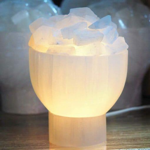 Selenite Fire Bowl Lamp op1 | Himalayan Salt Factory