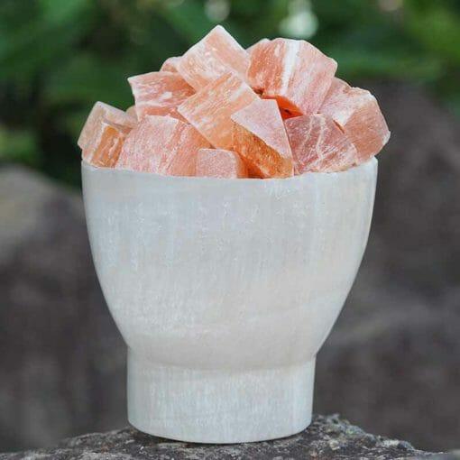 Selenite Fire Bowl Lamp with orange selenite chunks opt 2 | Himalayan Salt Factory