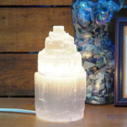 Selenite Tower Lamp 15cm+ | Himalayan Salt Factory
