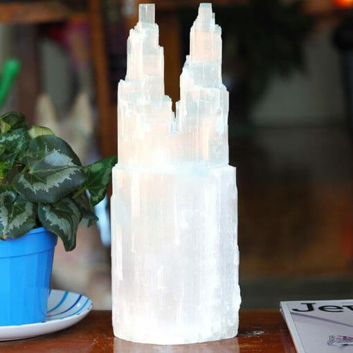 Selenite Twin Tower Lamp 40cm   Himalayan Salt Factory