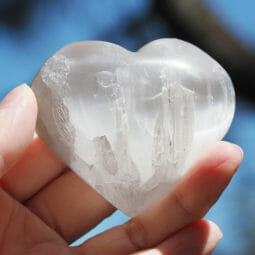 Selenite Heart Palm Stones x 3   Himalayan Salt Factory