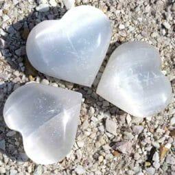 Selenite Heart Palm Stones x 3 | Himalayan Salt Factory
