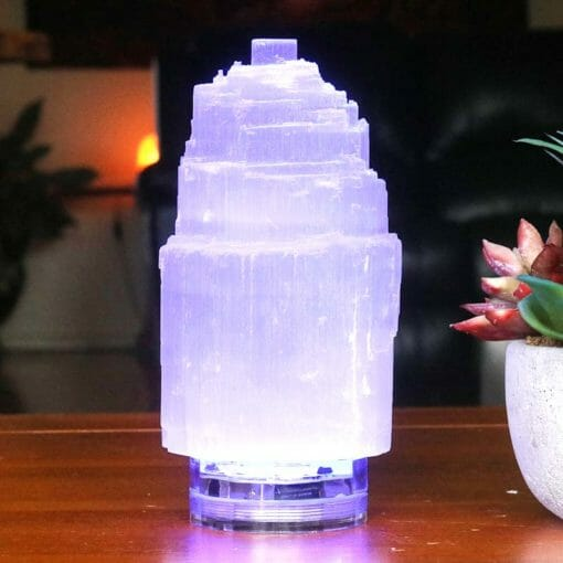 Selenite Tower Lamp 15cm with LED Light + Remote Control | Himalayan Salt Factory