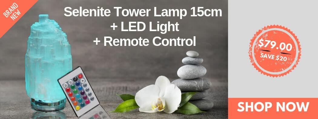 Selenite Tower Lamp 15cm + LED Light + Remote Control | Himalayan Salt Factory