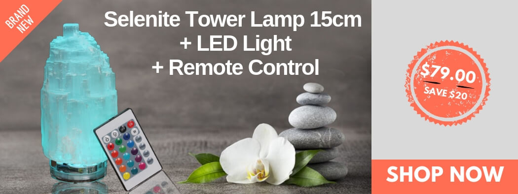 Selenite Tower Lamp 15cm + LED Light + Remote Control | Himalayan Salt Factory