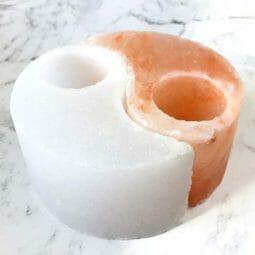 Selenite Ying Yang Shaped Tealight Candle Holder | Himalayan Salt Factory
