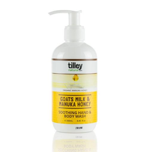 Tilley Natural Goats Milk and Manuka Honey Soothing Hand and Body Wash 250ml   Himalayan Salt Factory