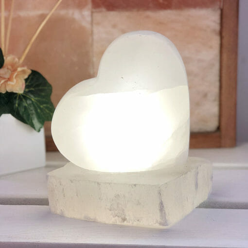 Selenite Heart Lamp | Himalayan Salt Factory