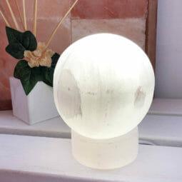 Selenite Sphere Lamp   Himalayan Salt Factory