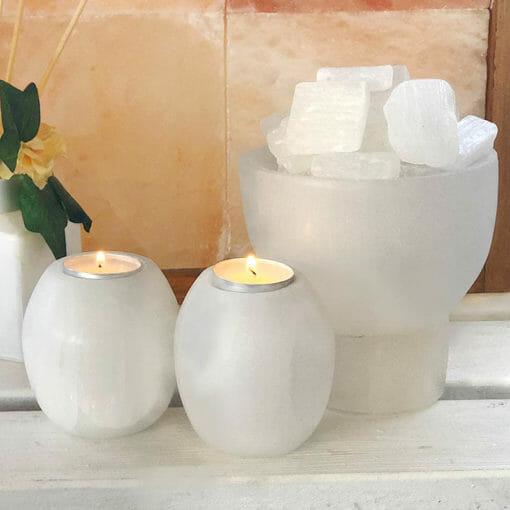 Selenite Fire Bowl Lamp Package   Himalayan Salt Factory
