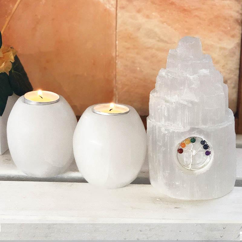 Selenite Tree Of Life Gemstone Package Himalayan Salt