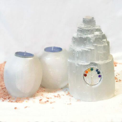 Selenite Tree of Life Gemstone Package | Himalayan Salt Factory