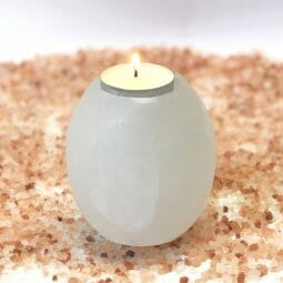 Tube Selenite Tealight Candle Holder | Himalayan Salt Factory