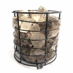 Basket Light with Smoky Quartz   Himalayan Salt Factory