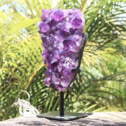 3.60kg Natural Amethyst Geode Sculpture on Iron Stand [AME33] | Himalayan Salt Factory