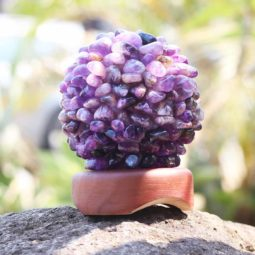 Amethyst Ball Lamp with Timber Base | Himalayan Salt Factory