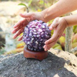 Amethyst Ball Lamp with Timber Base   Himalayan Salt Factory
