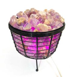 Basket Light with Amethyst Gemstones | Himalayan Salt Factory
