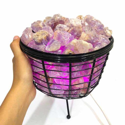 Basket Light with Amethyst Gemstones   Himalayan Salt Factory