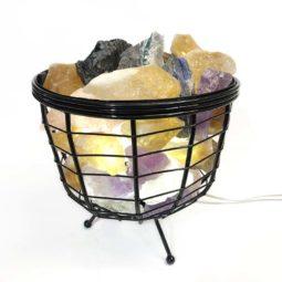 Basket Light with Multi Gemstones | Himalayan Salt Factory